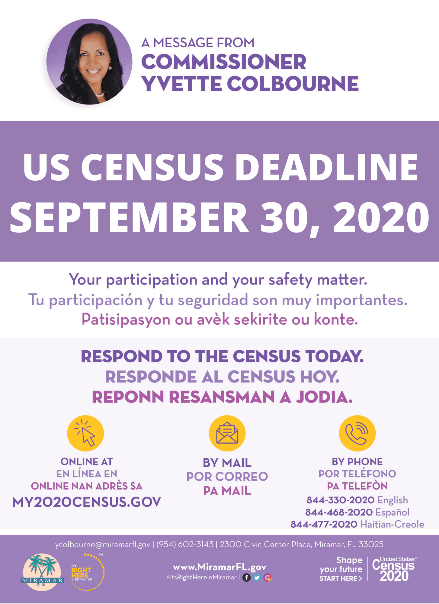 Census 2020 Deadline is September 30th Flyer